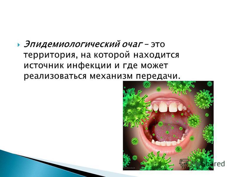 Эпидемиологический очаг – это территория, на которой находится источник инфекции и где может реализоваться механизм передачи.