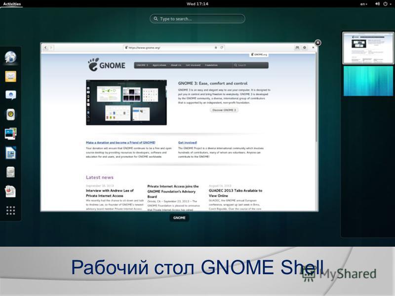 Рабочий стол GNOME Shell