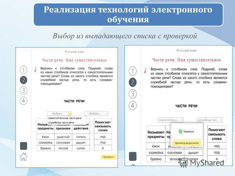 Начальная школа. Электронный учебник Реализация технологий электронного обучения Выбор из выпадающего списка с проверкой