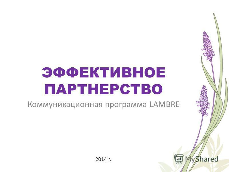 ЭФФЕКТИВНОЕ ПАРТНЕРСТВО Коммуникационная программа LAMBRE 2014 г.