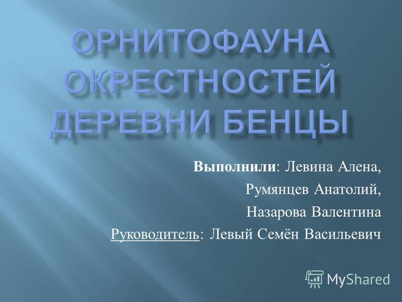 Выполнили : Левина Алена, Румянцев Анатолий, Назарова Валентина Руководитель : Левый Семён Васильевич