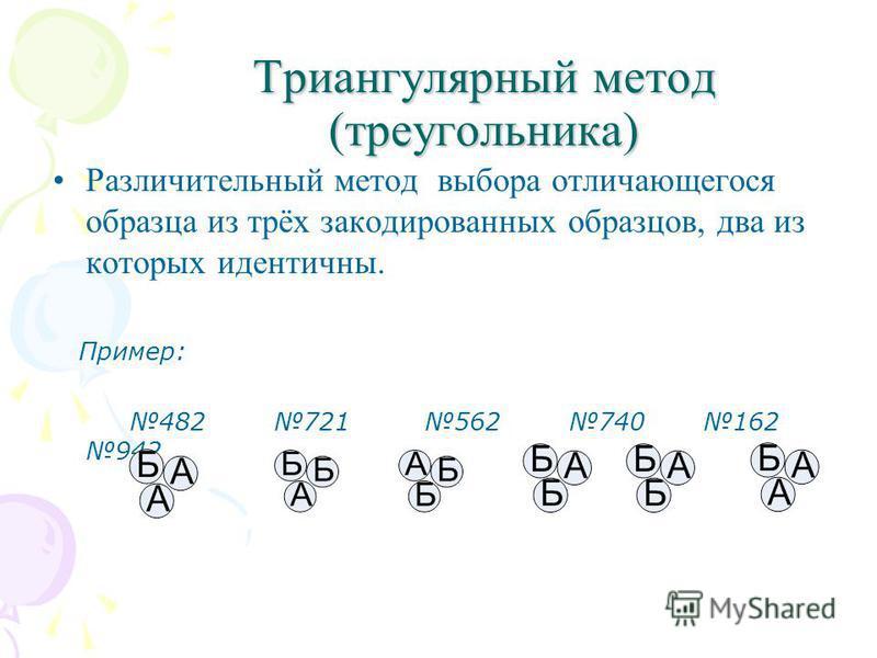 Триангулярный метод (треугольника) Различительный метод выбора отличающегося образца из трёх закодированных образцов, два из которых идентичны. Пример: 482 721 562 740 162 942 482 721 562 740 162 942