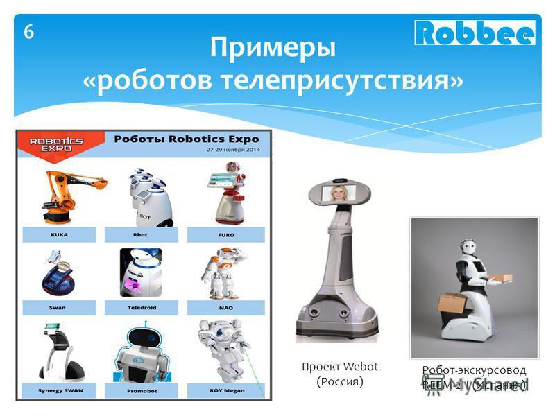 Примеры «роботов телеприсутствия» Робот-экскурсовод REEM-2H (Испания) Проект Webot (Россия) 6