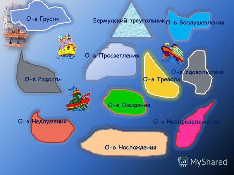 Бермудский треугольник О-в Воодушевления О-в Грусти О-в Ожидания О-в Тревоги О-в Неопределенности О-в Недоумения О-в Радости О-в Наслаждения О-в.Удовольствия О-в Просветления