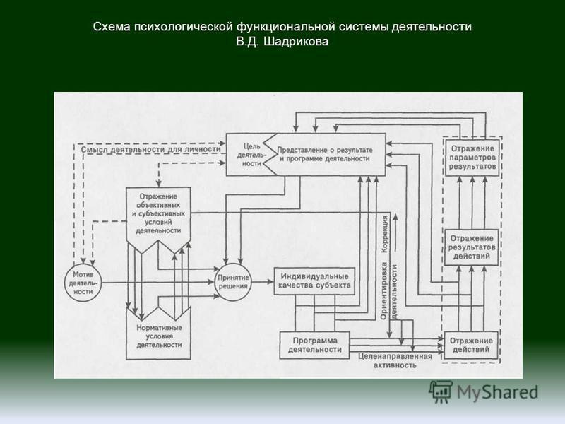Схема психологической функциональной системы деятельности В.Д. Шадрикова