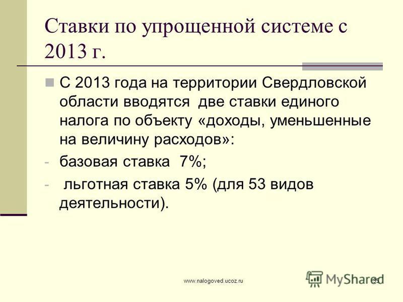 www.nalogoved.ucoz.ru35 Ставки по упрощенной системе с 2013 г. С 2013 года на территории Свердловской области вводятся две ставки единого налога по объекту «доходы, уменьшенные на величину расходов»: - базовая ставка 7%; - льготная ставка 5% (для 53