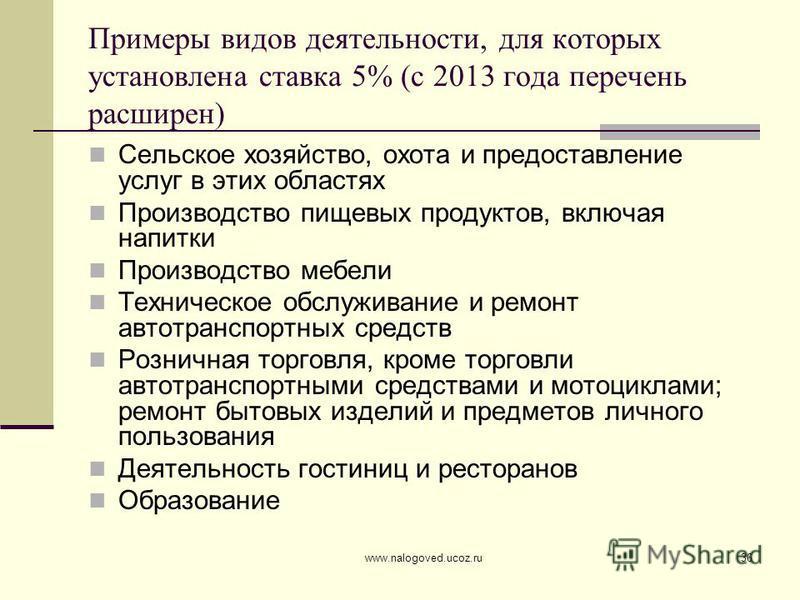 www.nalogoved.ucoz.ru36 Примеры видов деятельности, для которых установлена ставка 5% (с 2013 года перечень расширен) Сельское хозяйство, охота и предоставление услуг в этих областях Производство пищевых продуктов, включая напитки Производство мебели