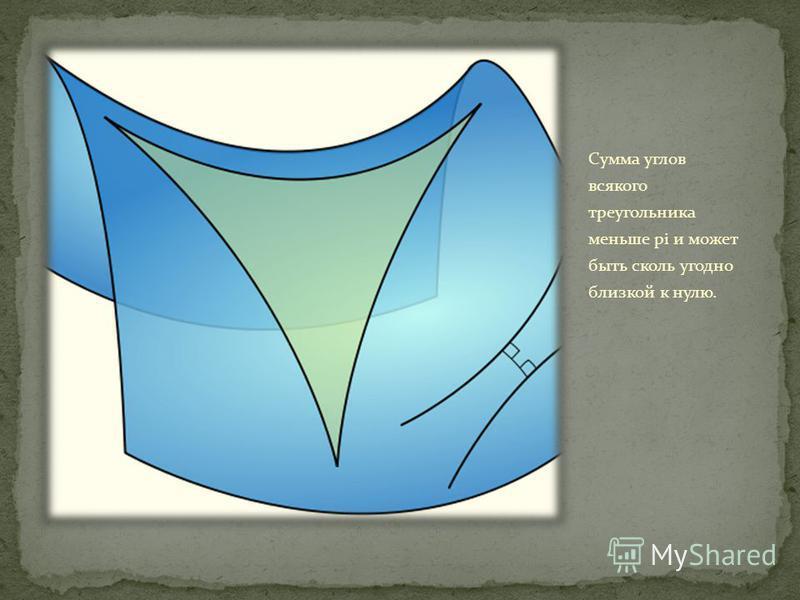 Сумма углов всякого треугольника меньше pi и может быть сколь угодно близкой к нулю.