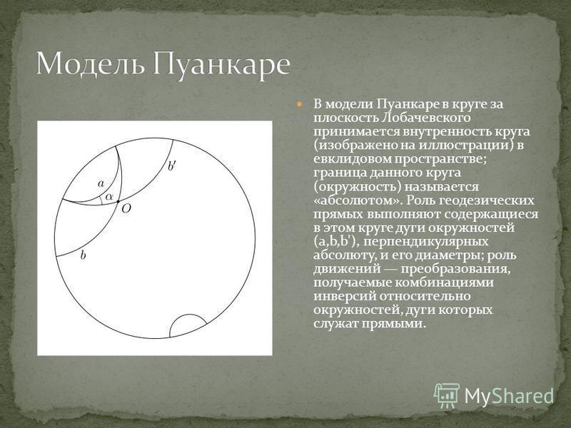 В модели Пуанкаре в круге за плоскость Лобачевского принимается внутренность круга (изображено на иллюстрации) в евклидовом пространстве; граница данного круга (окружность) называется «абсолютом». Роль геодезических прямых выполняют содержащиеся в эт