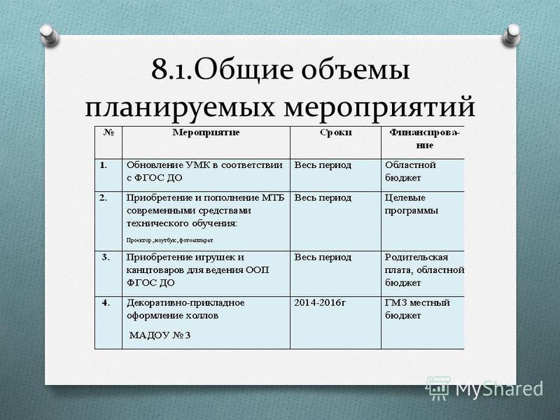 8.1. Общие объемы планируемых мероприятий