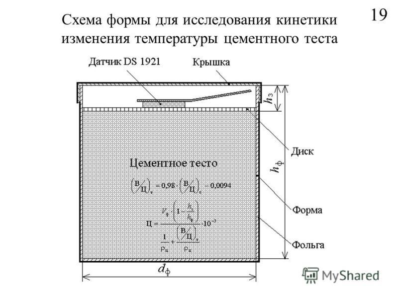 19 Схема формы для исследования кинетики изменения температуры цементного теста