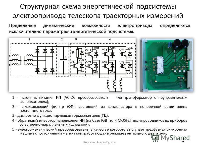 Структурная схема энергетической подсистемы электропривода телескопа траекторных измерений 3 Reporter: Alexey Egorov 1 - источник питания ИП (AC-DC преобразователь или трансформатор с неуправляемым выпрямителем); 2 - сглаживающий фильтр (СФ), состоящ
