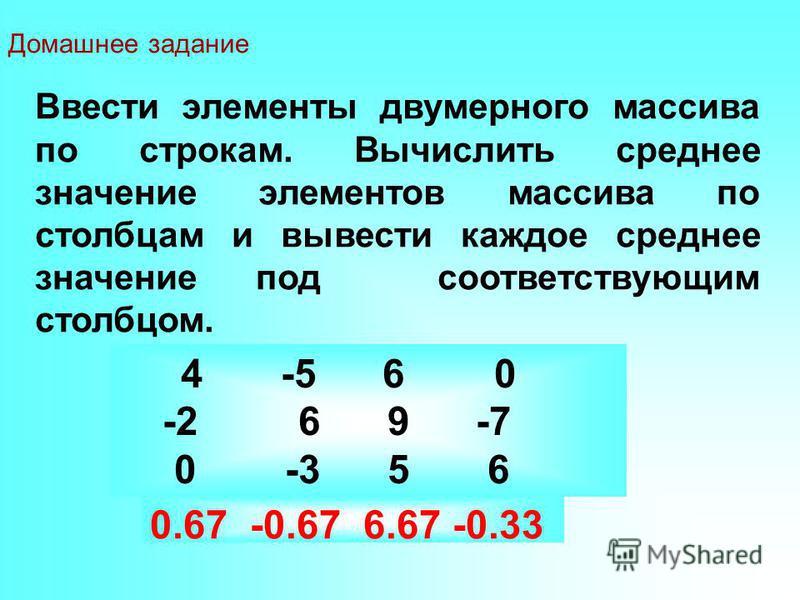 Ввести элементы двумерного массива по строкам. Вычислить среднее значение элементов массива по столбцам и вывести каждое среднее значение под соответствующим столбцом. 0.67 -0.67 6.67 -0.33 4 -5 6 0 -2 6 9 -7 0 -3 5 6 Домашнее задание