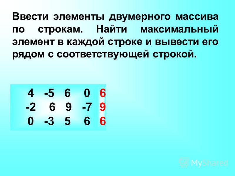 Ввести элементы двумерного массива по строкам. Найти максимальный элемент в каждой строке и вывести его рядом с соответствующей строкой. 4 -5 6 0 -2 6 9 -7 0 -3 5 6 6 9 6