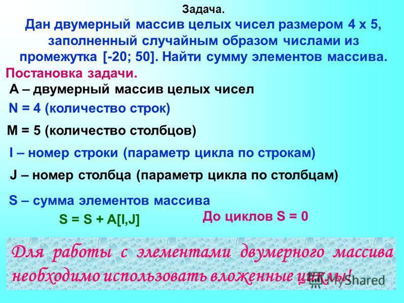 Задача. Дан двумерный массив целых чисел размером 4 х 5, заполненный случайным образом числами из промежутка [-20; 50]. Найти сумму элементов массива. S – сумма элементов массива Постановка задачи. A – двумерный массив целых чисел N = 4 (количество с