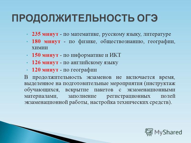 235 минут - по математике, русскому языку, литературе 180 минут - по физике, обществознанию, географии, химии 150 минут - по информатике и ИКТ 126 минут - по английскому языку 120 минут - по географии В продолжительность экзаменов не включается время