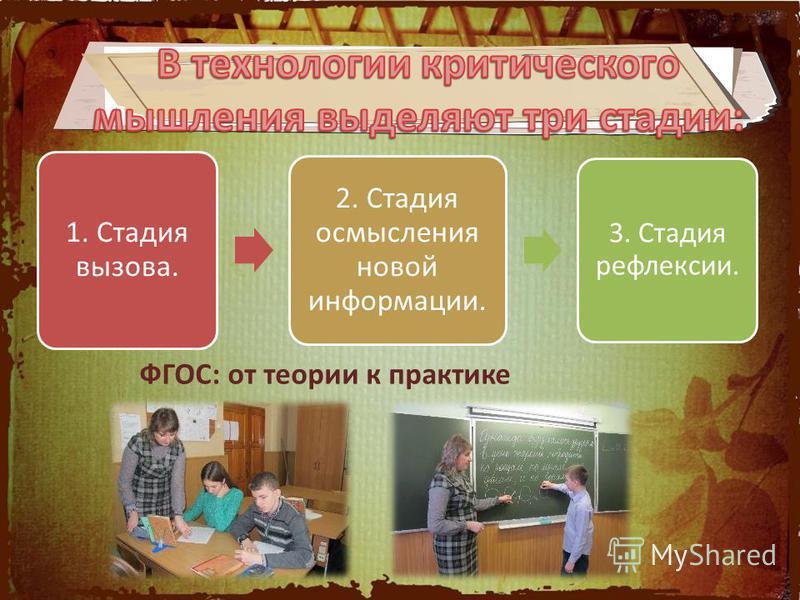1. Стадия вызова. 2. Стадия осмысления новой информации. 3. Стадия рефлексии. ФГОС: от теории к практике