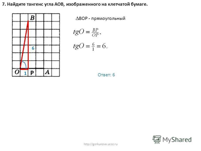 http://gorkunova.ucoz.ru 7. Найдите тангенс угла АОВ, изображенного на клетчатой бумаге. 1 Р 6 ВОР - прямоугольный Ответ: 6