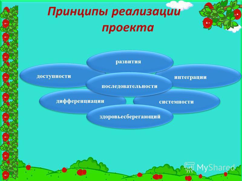 Принципы реализации проекта здоровьесберегающий развития последовательности интеграции дифференциации системности доступности