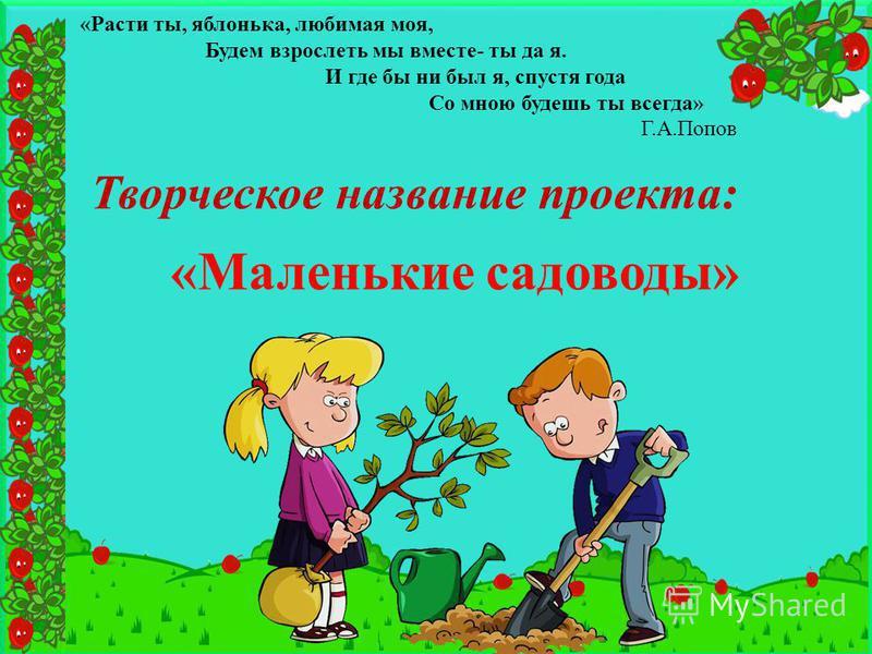 «Расти ты, яблонька, любимая моя, Будем взрослеть мы вместе- ты да я. И где бы ни был я, спустя года Со мною будешь ты всегда» Г.А.Попов Творческое название проекта: «Маленькие садоводы»