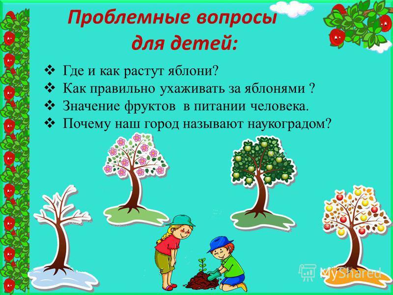 Где и как растут яблони? Как правильно ухаживать за яблонями ? Значение фруктов в питании человека. Почему наш город называют наукоградом? Проблемные вопросы для детей: