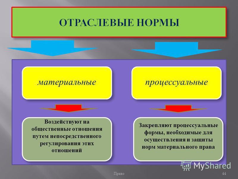 Право 44 материальные процессуальные Воздействуют на общественные отношения путем непосредственного регулирования этих отношений Закрепляют процессуальные формы, необходимые для осуществления и защиты норм материального права