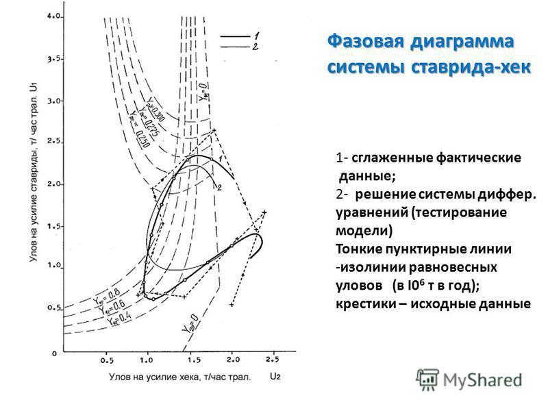 1- сглаженные фактические данные; 2- решение системы диффер. уравнений (тестирование модели) Тонкие пунктирные линии -изолинии равновесных уловов (в I0 6 т в год); крестики – исходные данные Фазовая диаграмма системы ставрида-хек