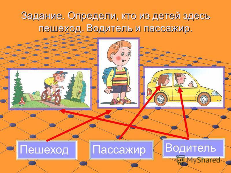 Задание. Определи, кто из детей здесь пешеход. Водитель и пассажир. Пешеход Пассажир Водитель