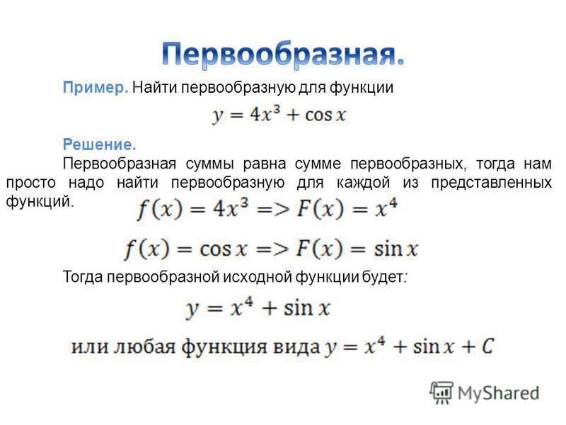 Пример. Найти первообразную для функции Решение. Первообразная суммы равна сумме первообразных, тогда нам просто надо найти первообразную для каждой из представленных функций. Тогда первообразной исходной функции будет: