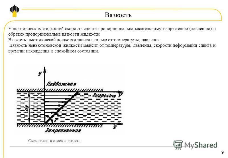9 Вязкость У ньютоновских жидкостей скорость сдвига пропорциональна касательному напряжению (давлению) и обратно пропорциональна вязкости жидкости Вязкость ньютоновской жидкости зависит только от температуры, давления. Вязкость неньютоновской жидкост