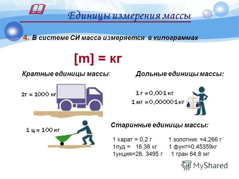 1. Масса тела – это физическая величина, являющаяся количественной мерой инертности тел. 2. Масса тела характеризует инертные и гравитационные свойства тел. Масса тела как физическая величина m 3. Масса обозначается латинской буквой -