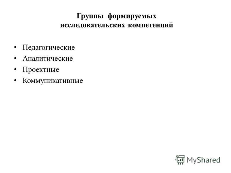 Группы формируемых исследовательских компетенций Педагогические Аналитические Проектные Коммуникативные
