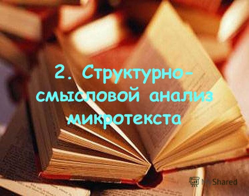 2. Структурно- смысловой анализ микротекста