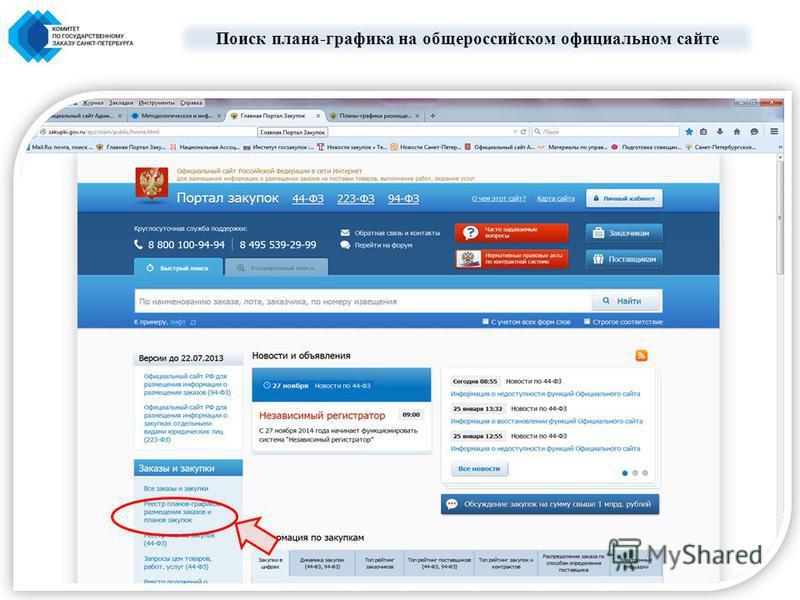 Поиск плана-графика на общероссийском официальном сайте