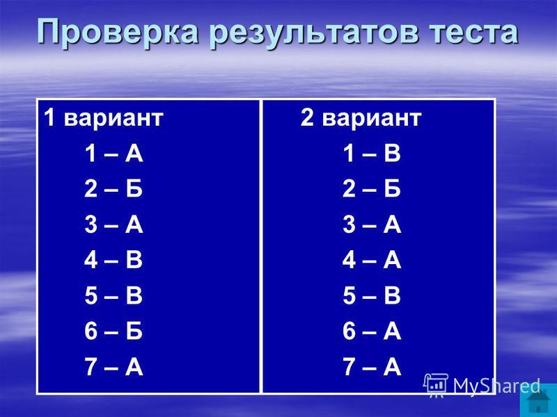 Проверка результатов теста 1 вариант 2 вариант 1 – А 1 – В 2 – Б 2 – Б 3 – А 3 – А 4 – В 4 – А 5 – В 5 – В 6 – Б 6 – А 7 – А 7 – А