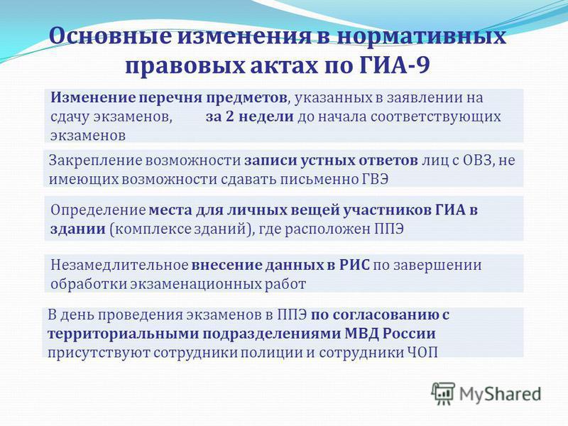 Основные изменения в нормативных правовых актах по ГИА-9 Определение места для личных вещей участников ГИА в здании (комплексе зданий), где расположен ППЭ В день проведения экзаменов в ППЭ по согласованию с территориальными подразделениями МВД России