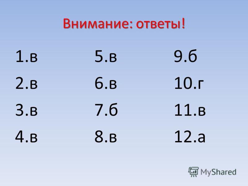 Внимание: ответы! 1. в 2. в 3. в 4. в 5. в 6. в 7. б 8. в 9. б 10. г 11. в 12.а