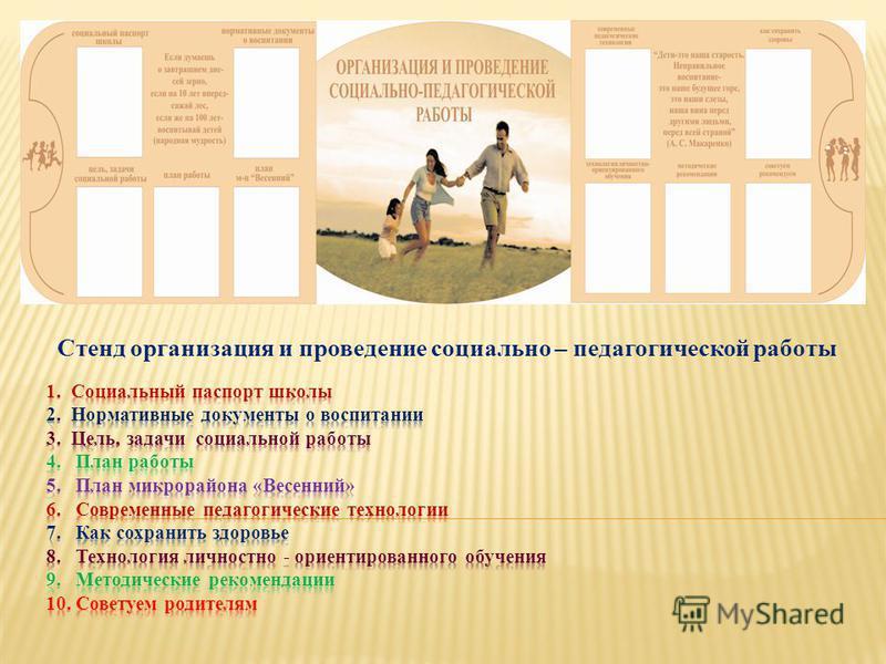 Стенд организация и проведение социально – педагогической работы