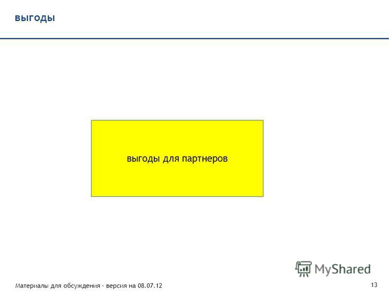 Материалы для обсуждения - версия на 08.07.12 13 выгоды выгоды для партнеров