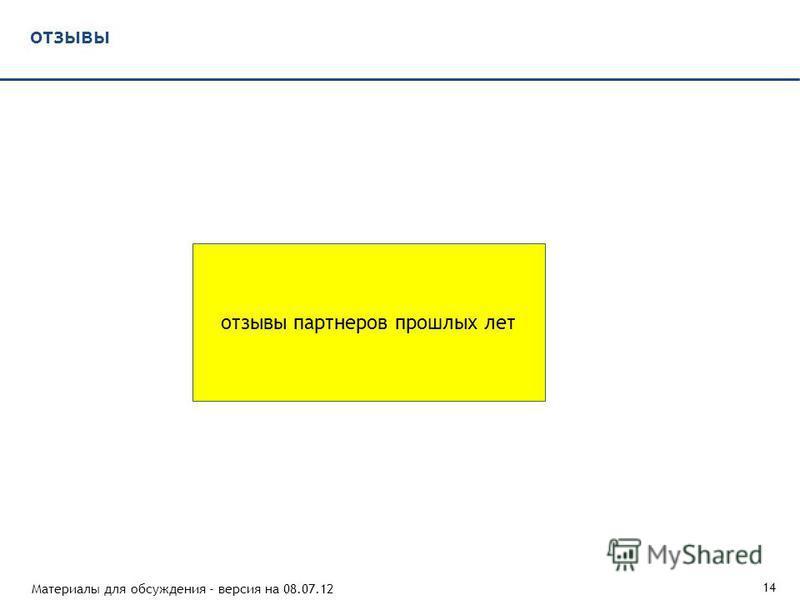 Материалы для обсуждения - версия на 08.07.12 14 отзывы отзывы партнеров прошлых лет