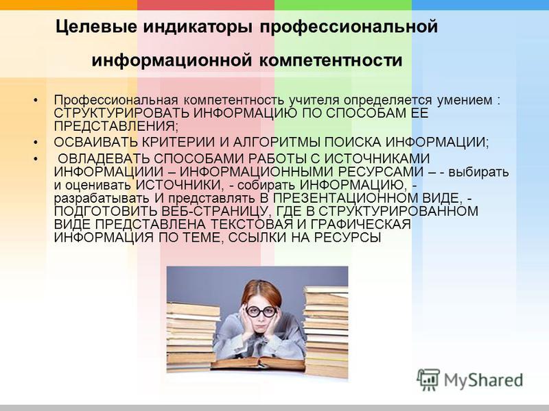 Целевые индикаторы профессиональной информационной компетентности Профессиональная компетентность учителя определяется умением : СТРУКТУРИРОВАТЬ ИНФОРМАЦИЮ ПО СПОСОБАМ ЕЕ ПРЕДСТАВЛЕНИЯ; ОСВАИВАТЬ КРИТЕРИИ И АЛГОРИТМЫ ПОИСКА ИНФОРМАЦИИ; ОВЛАДЕВАТЬ СПО