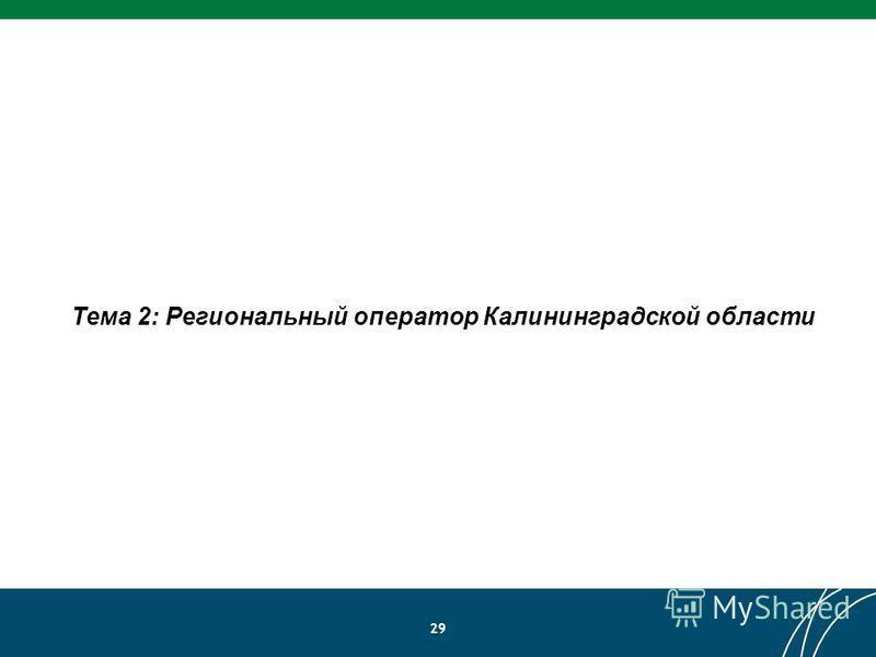 29 Тема 2: Региональный оператор Калининградской области
