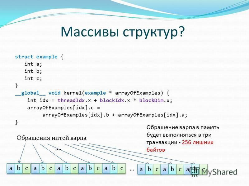 Массивы структур? struct example { int a; int b; int c; } __global__ void kernel(example * arrayOfExamples) { int idx = threadIdx.x + blockIdx.x * blockDim.x; arrayOfExamples[idx].c = arrayOfExamples[idx].b + arrayOfExamples[idx].a; } a a b b Обращен