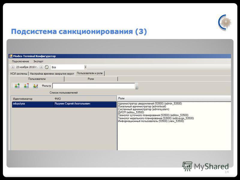 Подсистема санкционирования (3) Обеспечивает доступ пользователей к информации по объектам в соответствии с Реестром ДЦ. Организует набор ролей с предопределенными правами. Функциональность каждой роли определяется правом использования набора обобщен