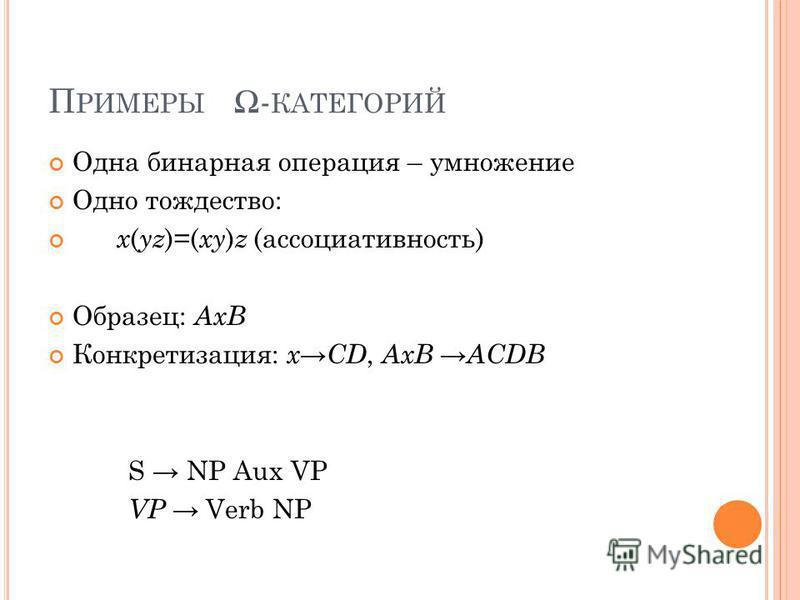 П РИМЕРЫ - КАТЕГОРИЙ Одна бинарная операция – умножение Одно тождество: x ( yz )=( xy ) z (ассоциативность) Образец: AxB Конкретизация: x CD, AxB ACDB S NP Aux VP VP Verb NP