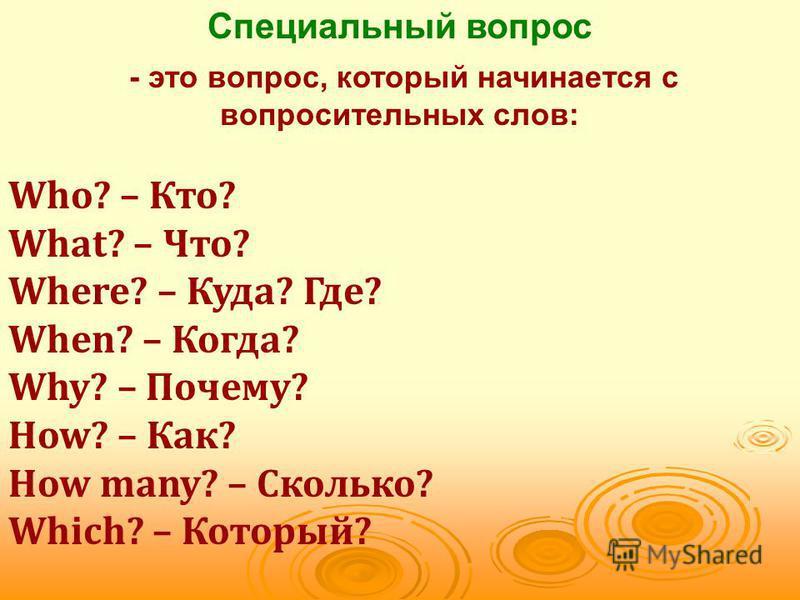 Специальный вопрос - это вопрос, который начинается c вопросительных слов: Who? – Кто? What? – Что? Where? – Куда? Где? When? – Когда? Why? – Почему? How? – Как? How many? – Сколько? Which? – Который?