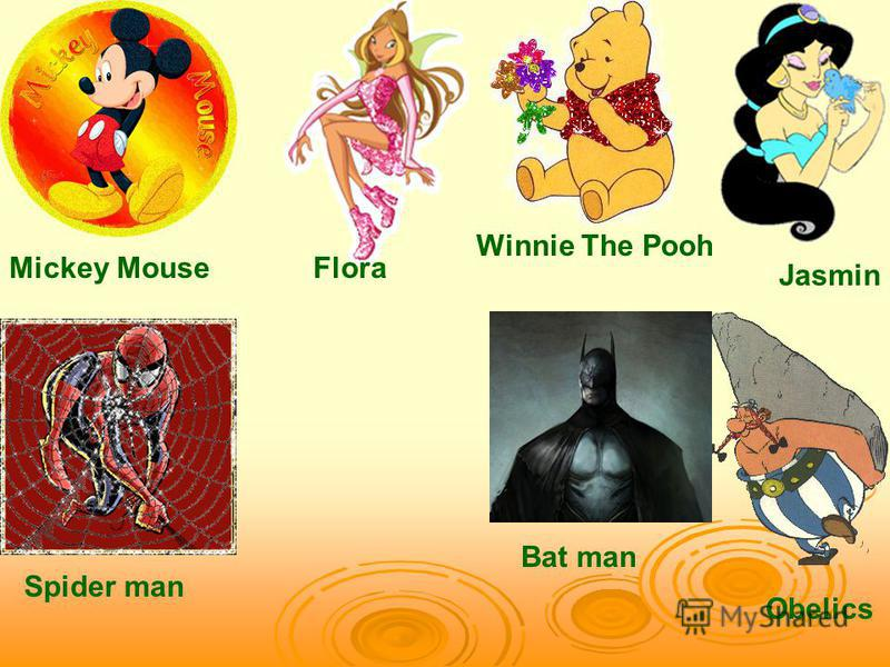 Mickey Mouse Winnie The Pooh Spider man Flora Jasmin Obelics Bat man