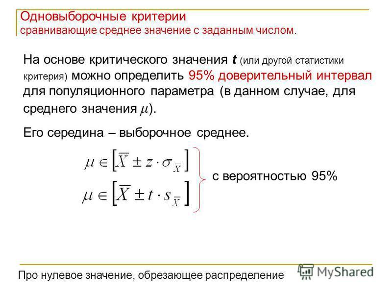 Одновыборочные критерии сравнивающие среднее значение с заданным числом. На основе критического значения t (или другой статистики критерия) можно определить 95% доверительный интервал для популяционного параметра (в данном случае, для среднего значен