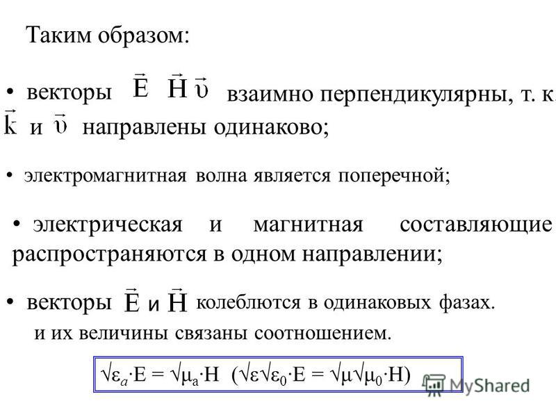 Таким образом: векторы взаимно перпендикулярны, т. к. и направлены одинаково; электромагнитная волна является поперечной; электрическая и магнитная составляющие распространяются в одном направлении; колеблются в одинаковых фазах. векторы ε а ·E = μ а