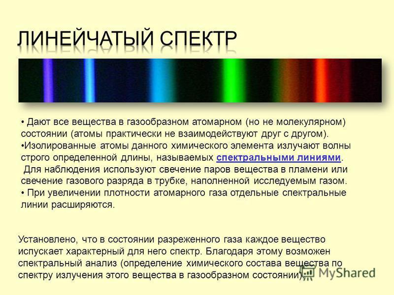 Дают все вещества в газообразном атомарном (но не молекулярном) состоянии (атомы практически не взаимодействуют друг с другом). Изолированные атомы данного химического элемента излучают волны строго определенной длины, называемых спектральными линиям